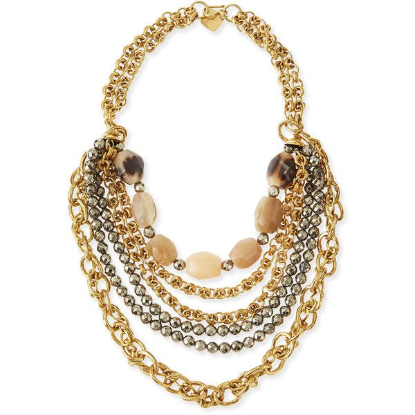 Ashley Pittman Johari Bronze & Pyrite Multi-Strand Necklace (€1.210) ❤ liked on Polyvore featuring jewelry, necklaces, dark horn, beaded jewelry, hook necklace, multiple chain necklace, bronze necklace and pyrite necklace