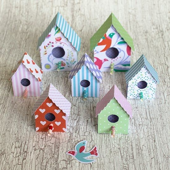 Use This Free Template To Make Cute Paper Birdhouses For Your Wall Tutorial In English And Swedish
