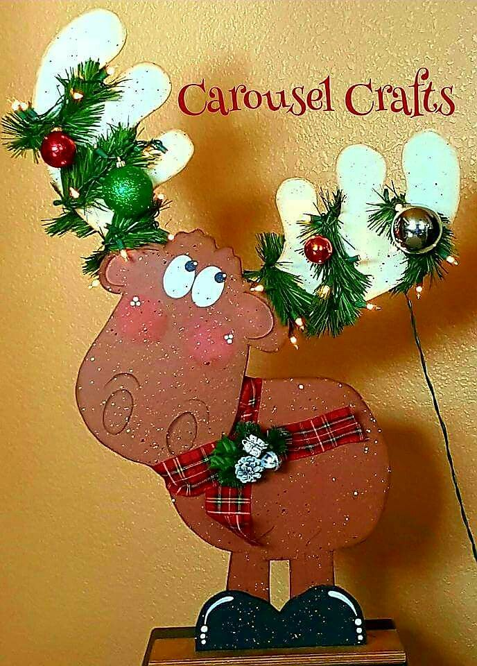 Cute Winter Christmas Moose wood craft by Carousel Crafts ...