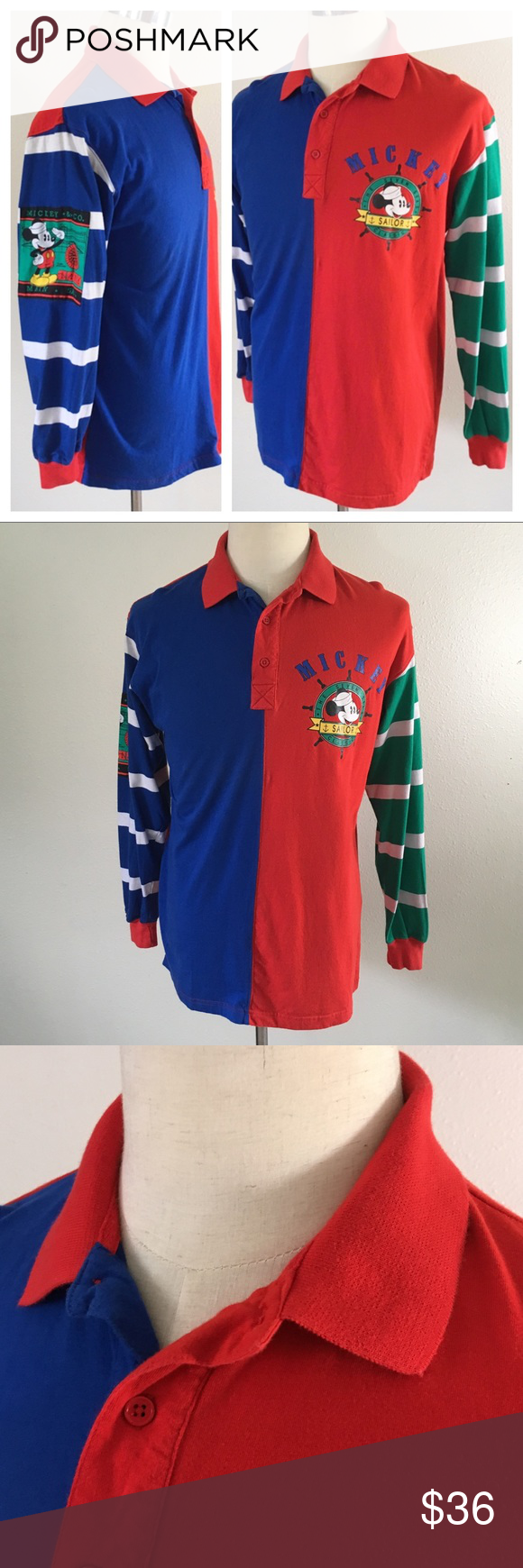 f3d5c647c45 90s Mickey   Co color block long sleeve rugby polo Super fun Mickey and Co  color