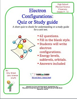 Electron Configuration Quiz/Homework. This is 62 fill in the blank ...