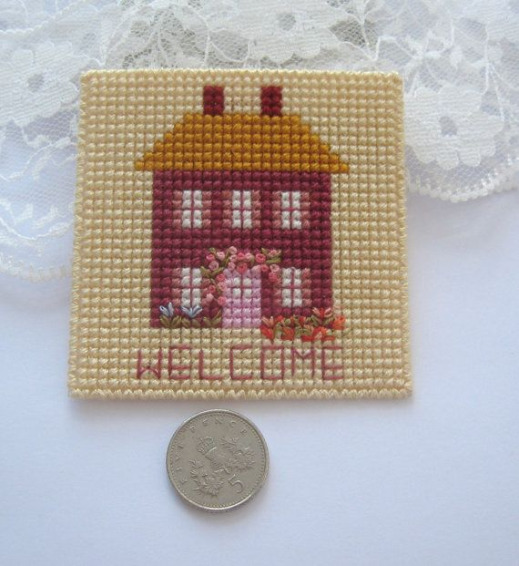 dollhouse welcome mat hand embroidered 12th by Rainbowminiatures