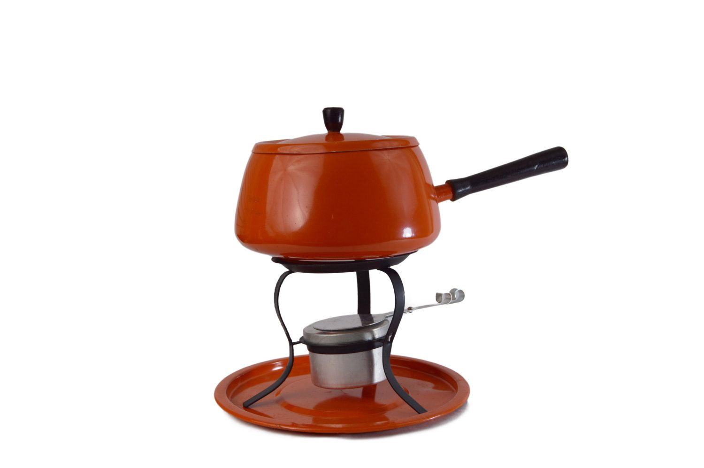 Orange Fondue Pot Set Vintage Mid Century 1960 S Fondue Pot