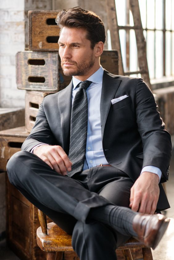 Image Result For Charcoal Grey Suit With Light Blue Shirt