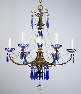 Cobalt Blue Crystal Chandelier Antique Vintage Restored Hanging