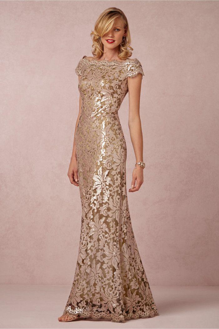Gold pink lace dress