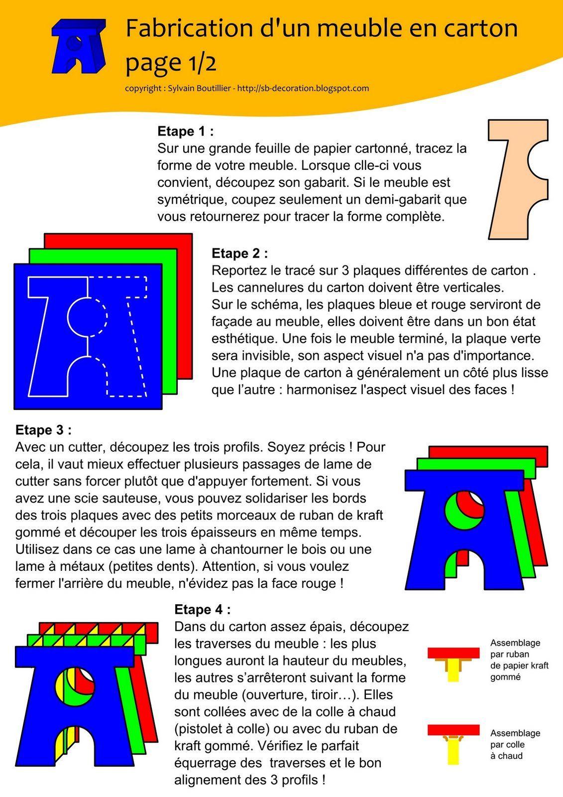 Meuble_en_carton_1 2 Jpg Techniques Pour Travailler Le Carton  # Schema De Fabrication D' Un Classeur En Bois