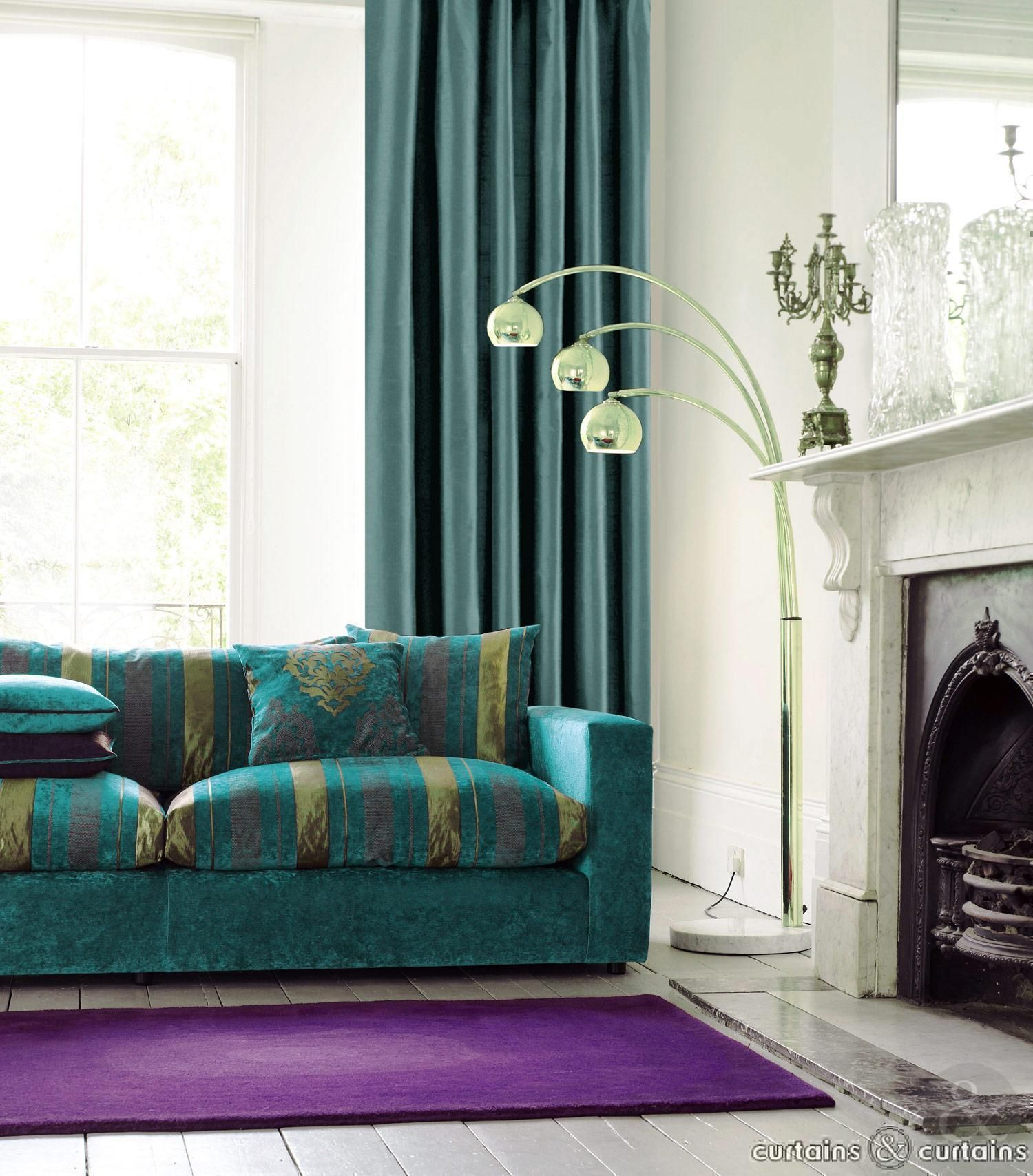 Superb Classy Teal Sliding Curtain Windows Also Cool Turquoise Living Room Sofas  Added Modern Stands Lamps As Well As White Fireplace In Modern Turquoise  Living ... Good Looking