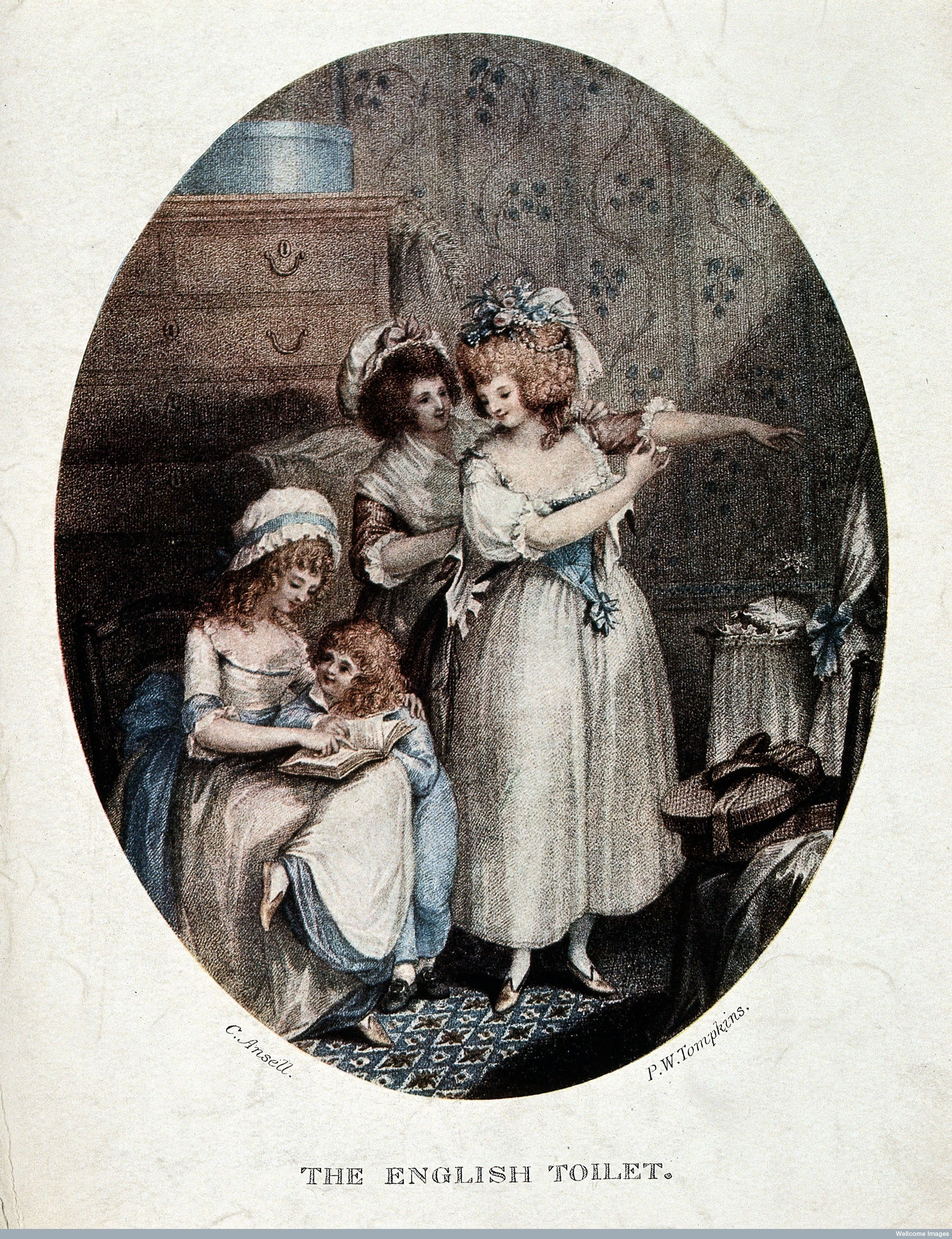 A woman at her toilet being assisted by a maidservant; to the left ...