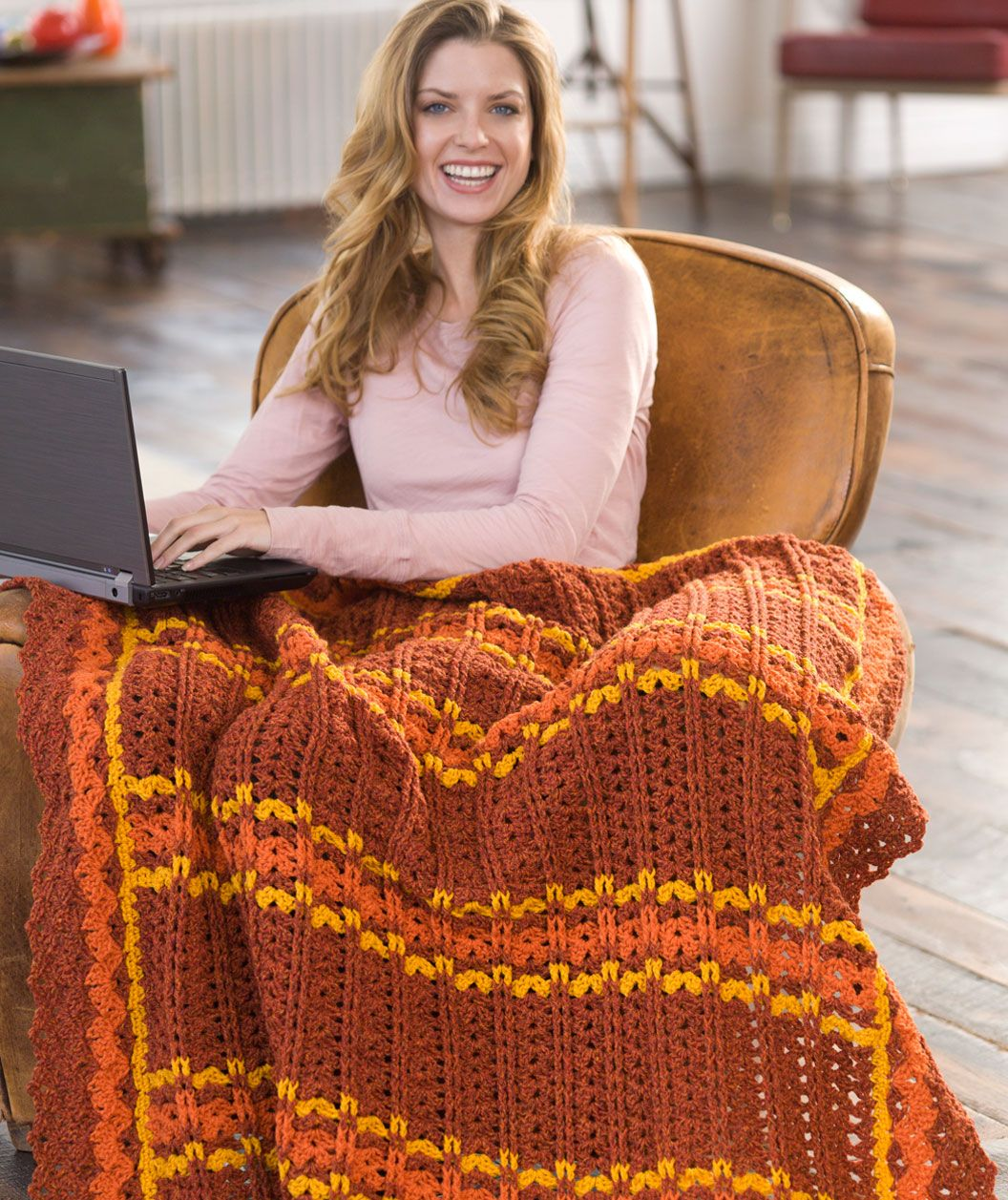 Optimistic Striped Throw Free Crochet Pattern from Red Heart