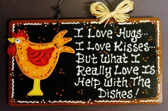 Photo of ROOSTER Hugs~Kisses~Dishes KITCHEN SIGN Chicken Wall Decor Plaque Country Wood Wood Wooden  Door Han