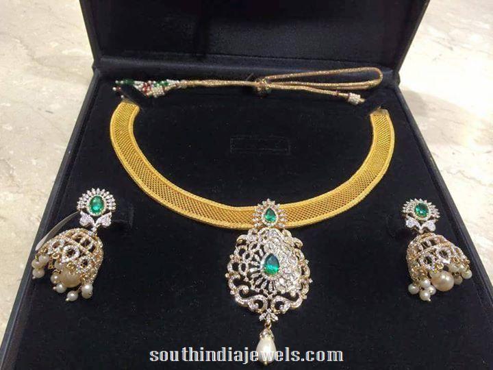 Diamond Necklace with Jhumka earrings