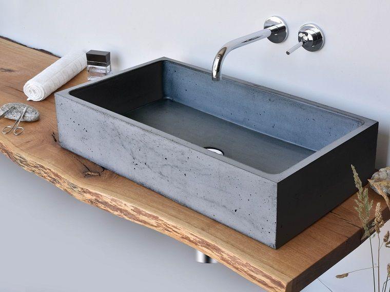 Muebles de ba o modernos de estilo r stico 49 modelos for Pared de bano de concreto encerado