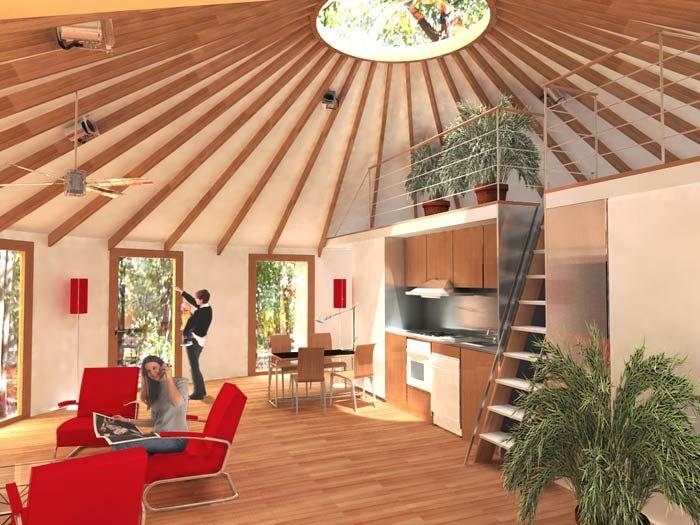 Construire une yourte verslautonomie inside the yurt for Maison yourte moderne