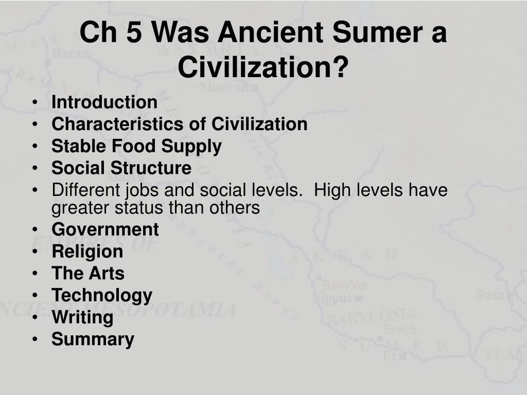 Characteristics Of Civilization Worksheet Ppt Ch 5 Was