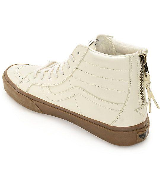 Vans SK8 Hi Cuero blanco