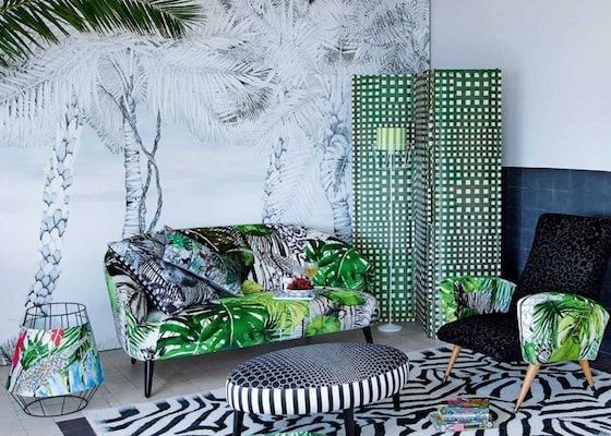papier peint r tro tropical exotique design palmier jungle christian lacroix createur d coration. Black Bedroom Furniture Sets. Home Design Ideas