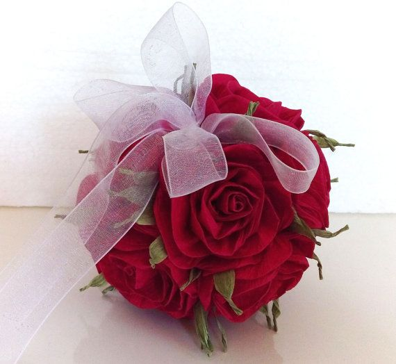 Royal Red Roses Beauty And The Beast Wedding Crepe Paper Etsy Handmade Flowers Paper Paper Flower Ball Paper Flowers Roses