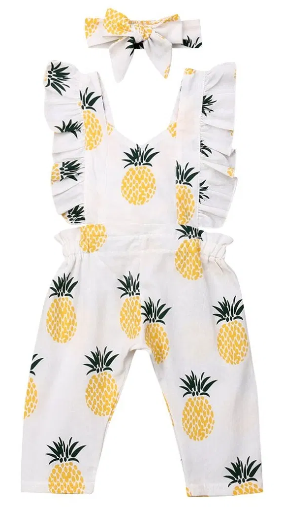Baby Girl Pineapple Ruffled Jumpsuit