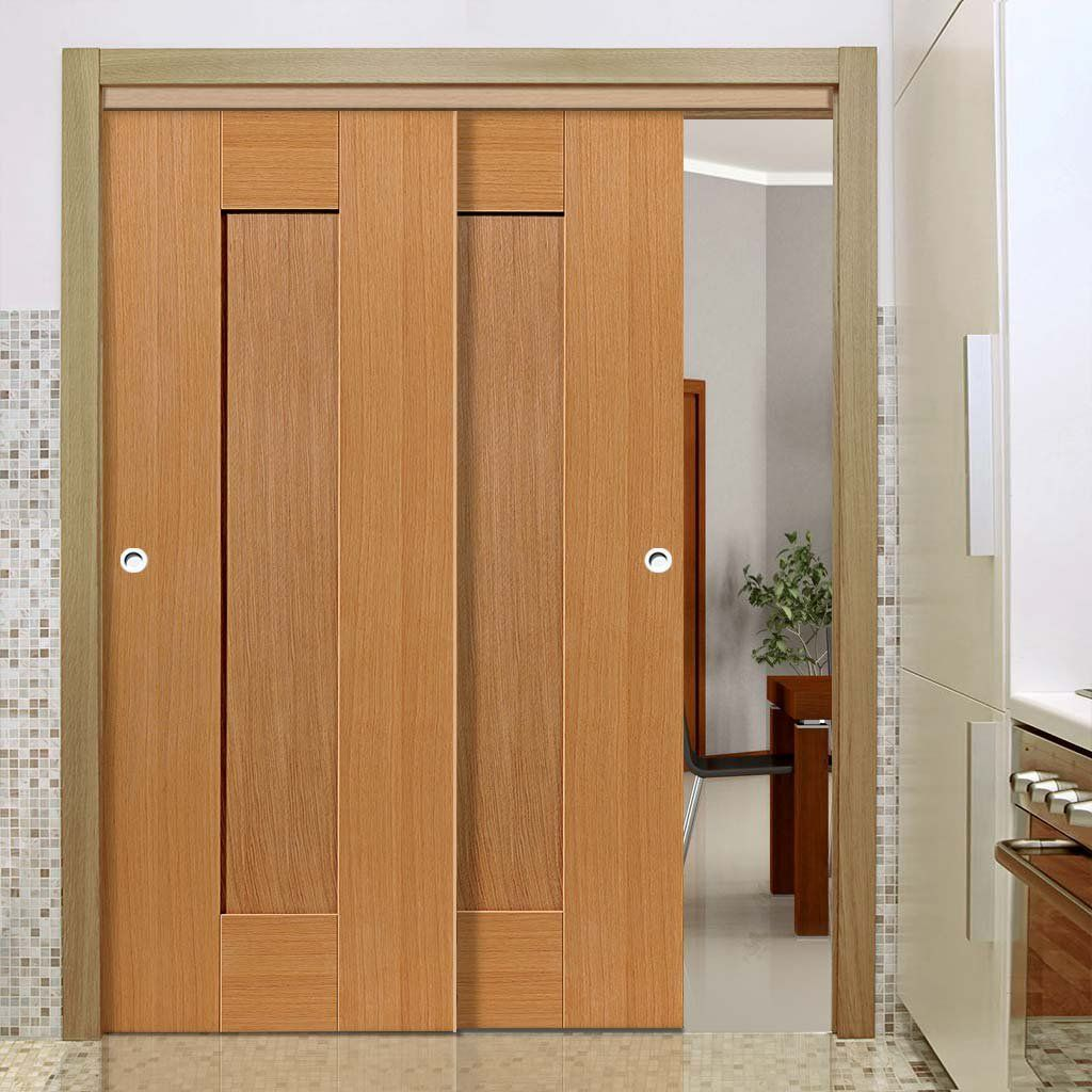 Thruslide Symmetry Axis Oak Shaker 2 Sliding Doors And Frame Kit