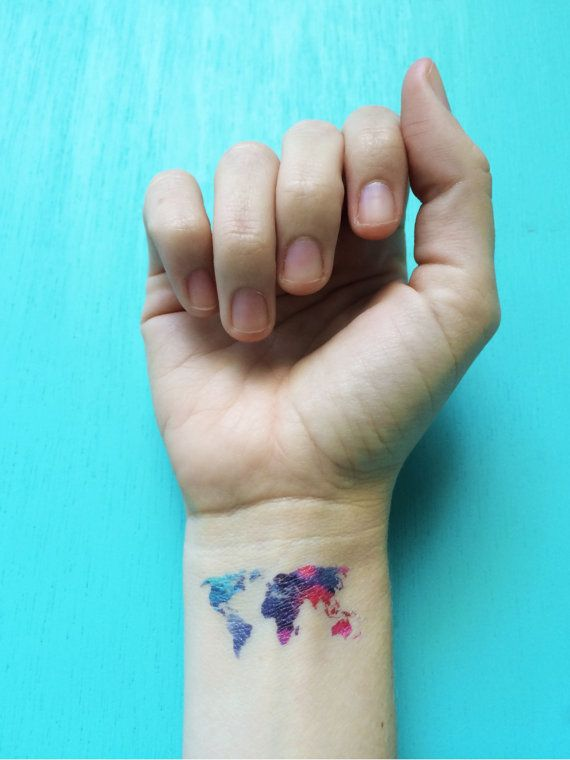 Watercolor temporary tattoos world map tattoo set of by happytatts watercolor temporary tattoos world map tattoo set of by happytatts gumiabroncs Gallery