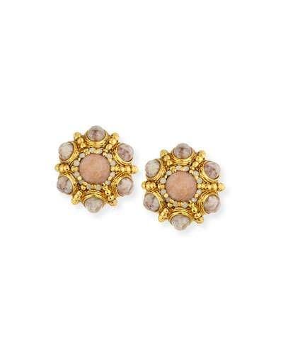 Jose & Maria Barrera Cabochon-Studded Hoop Earrings sO4KVIE3q