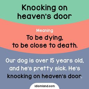 Idiom Of The Day Knocking On Heaven S Door Meaning To Be Dying To Be Close To Death Example Our Dog Is Over 15 Years English Idioms Idioms Learn English
