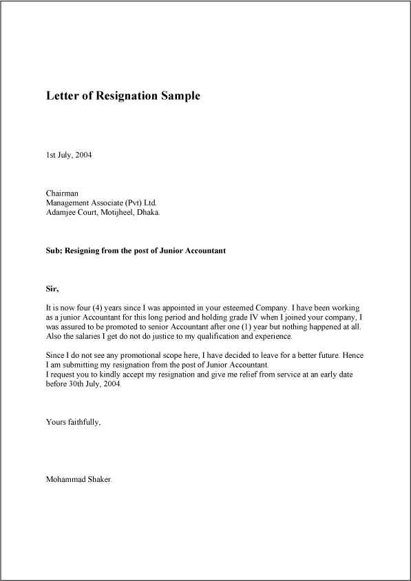 letter of resignation sample template example and format