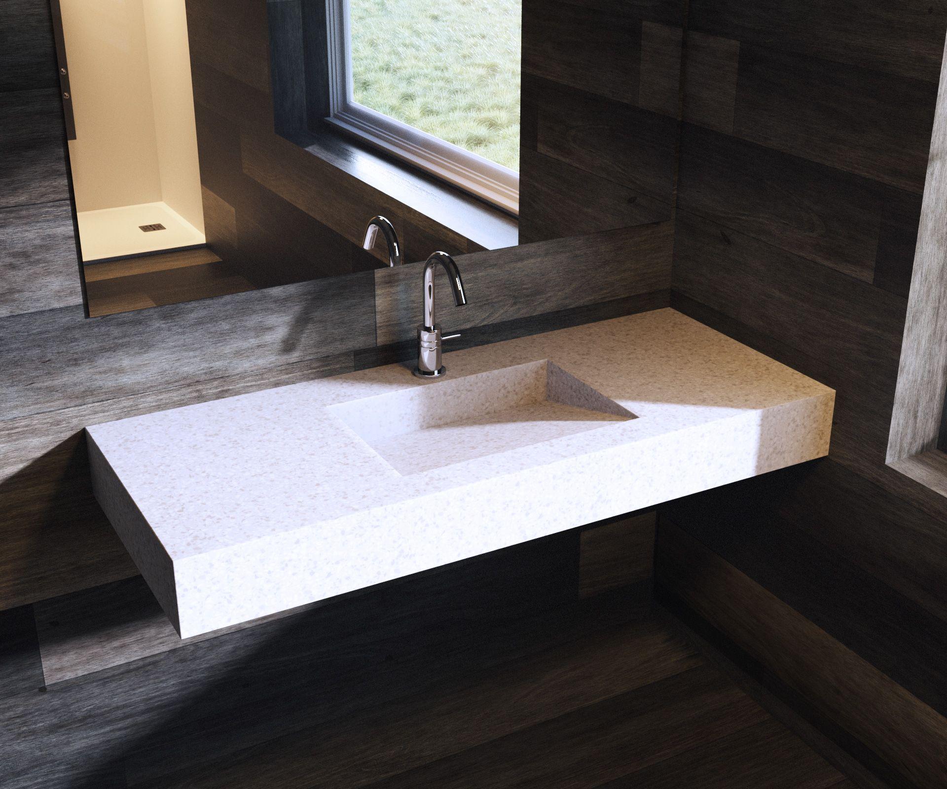 Plan Vasque En Quartz Terrazzo White Salle De Bain Tendance Plan De Travail Cuisine Terrazzo
