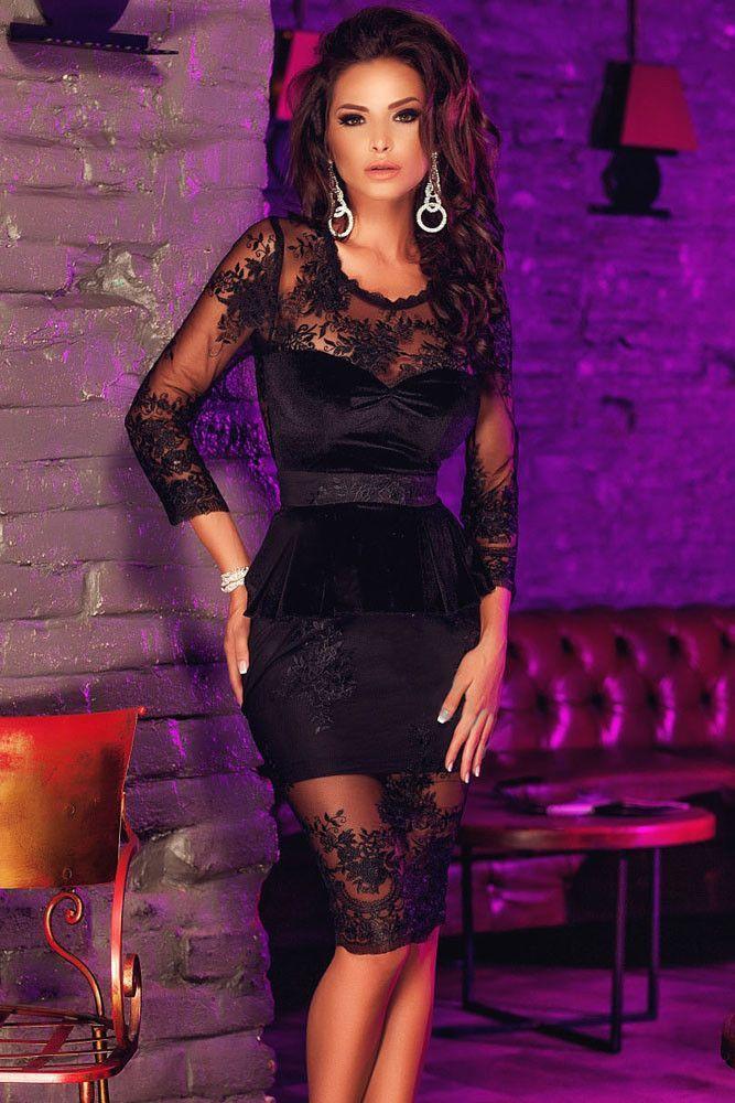 Black Lace Mesh Insert Sleeved Peplum Dress LC60709 Green Dress with PU and Mesh InsertsLC6280 long sleeve vestido leopardo