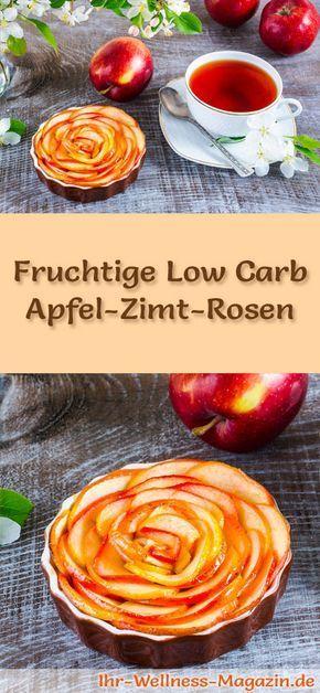 Schnelle Low Carb Apfel-Zimt-Rosen - Rezept ohne Zucker #blätterteigrosenmitapfel