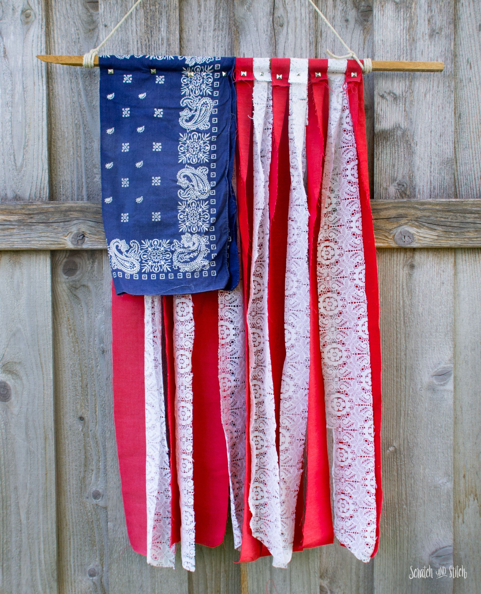 American Flag Diy With Fabric Scraps Lace And A Bandana American Flag Diy Flag Diy Flag Crafts