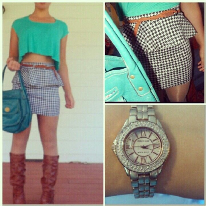 Spring outfit, houndstooth print, peplum skirt, gold watch, but instead of boots single sole heels
