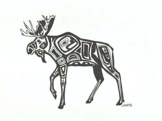 Lineart Wolf Tattoo : Alaskan moose tribal style print by essence of ink on etsy. sharipie