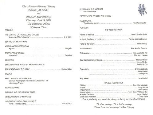 sample of wedding programme