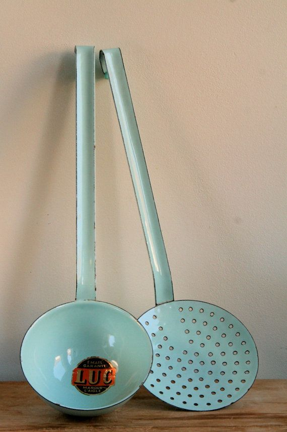 Vintage French Enamel Utensils in Duck Egg Blue - Ladle & Skimmer