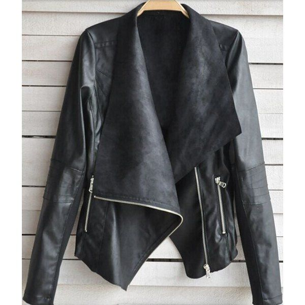 Fashionable Turn-Down Collar Long Sleeve Zippered PU Leather ...
