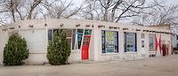 The Bent Door Midway Station in Adrian Texas, the midway point on Route 66.  In the early 1960 this was known as Tommy's Cafe.  The bent doo...