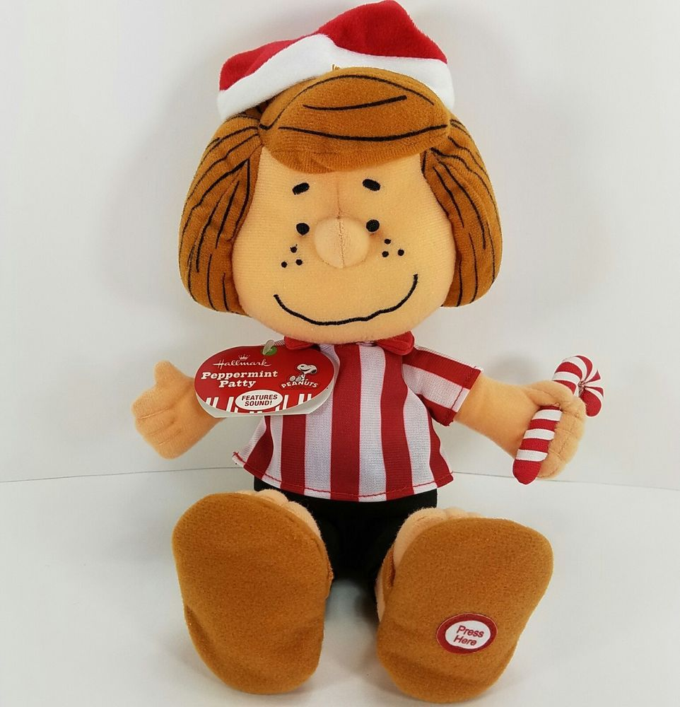 peppermint patty peanuts hallmark plush christmas doll with sound