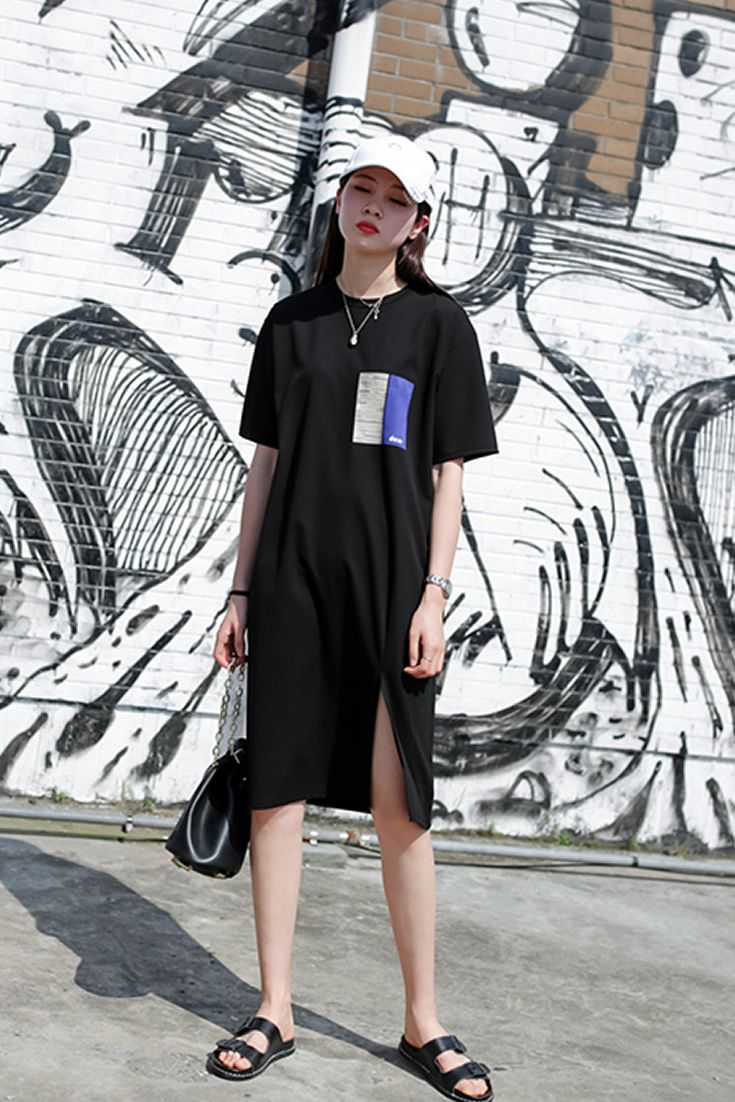 Black Street Tshirt Dress, South Korea Airport Fashion Kpop Drama
