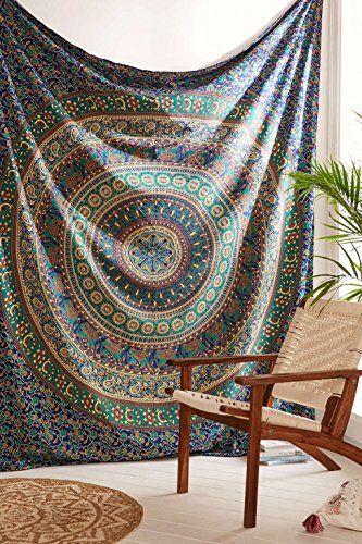 Elephant Mandala Wall Hanging Handmade Cotton Hippie Beach Blanket Twin Tapestry