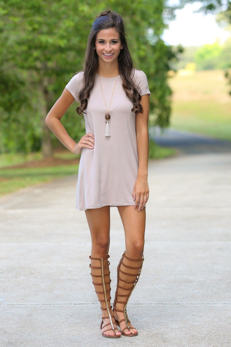 My Element Taupe T-Shirt Dress at reddressboutique.com c8557300070e