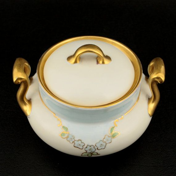 Antique Porcelain Sugar Bowl w Lid Jewelry Trinkets Blue Gold