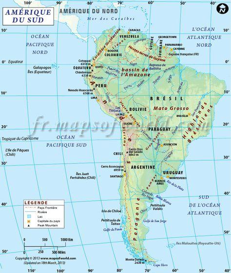Amerique Du Sud Map Sud Amérique Carte | Maps | South america map, Argentina south