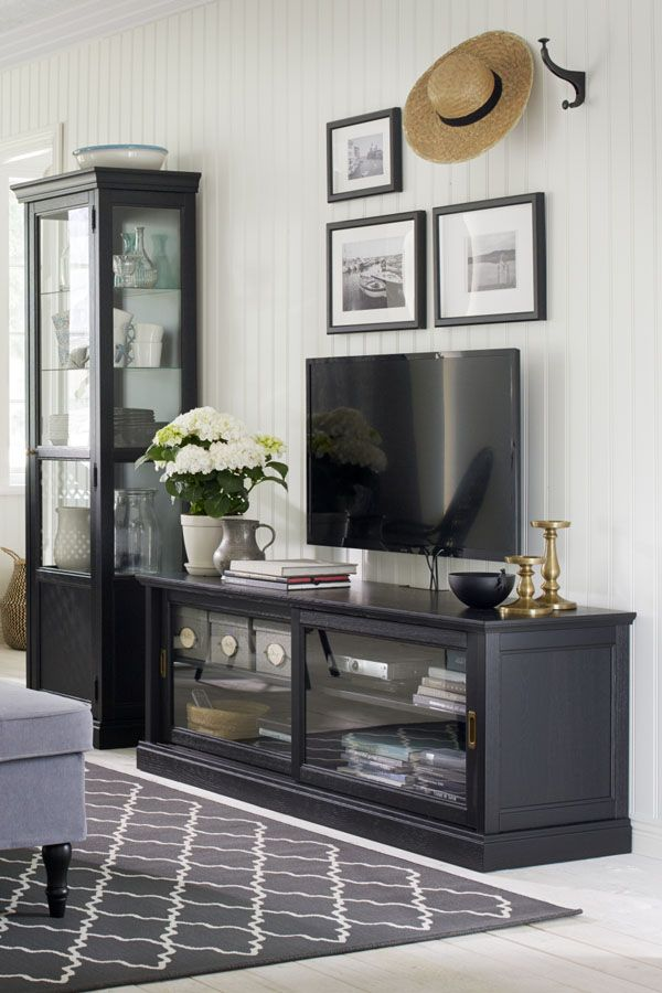 Malsjö Tv Unit With Sliding Doors Black Stained