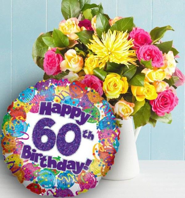 Happy 60th Birthday With Flowers And Balloons