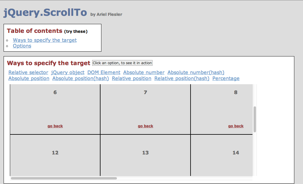 Jquery scroll to - position animator   Dev Archive   Table