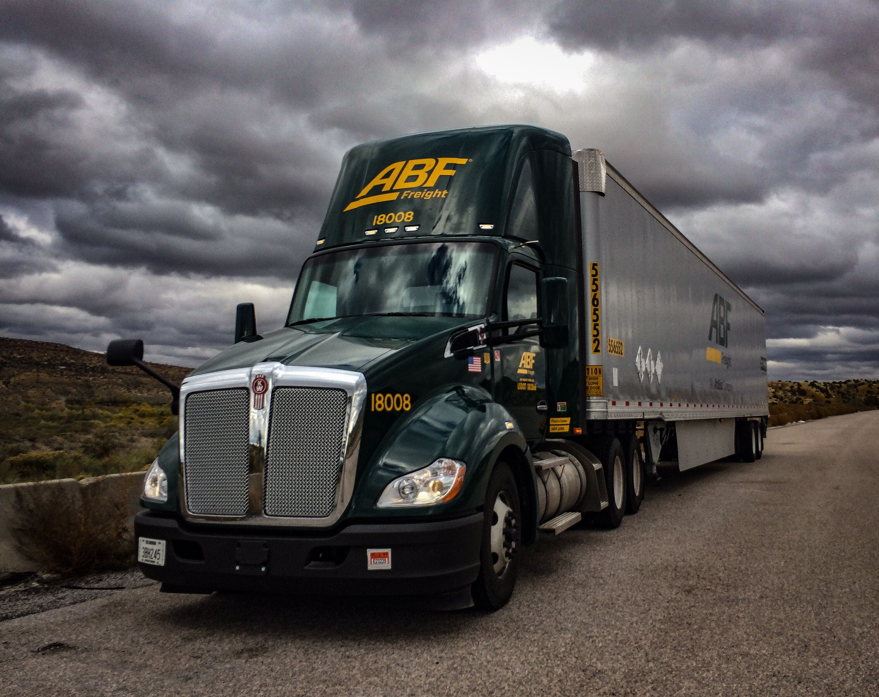 ABF Freight Kenworth, taken at the New Mexico/Arizona line on Interstate 40... Photo by George Stokes