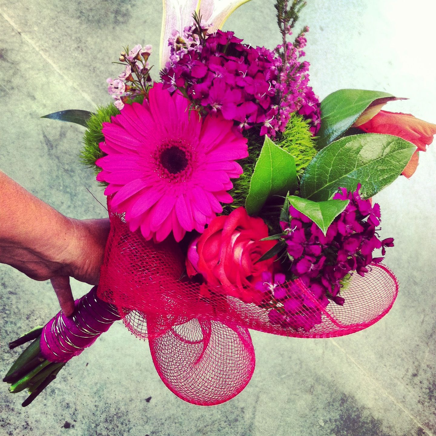 Fuchsia Wedding Flowers: Neon Bridal Bouquet With Deco Mesh: Coral And Fuchsia