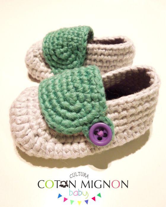 Zapatito bebé crochet cultura coton mignon baby | Zapatos ...